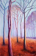 Fog Mist Pastels Prints - Trees in the Mist Print by Marion Derrett