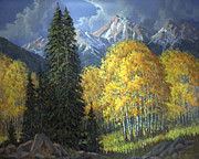 Snow Storm Paintings - Trees Of Fall by Randy Follis