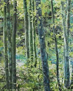 North Vancouver Painting Posters - Trees of Riverbank Poster by Sandrine Pelissier