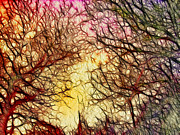 Autumn Trees Mixed Media Prints - Trees of the Four Seasons Print by Kaye Menner