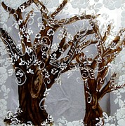 Metal Glass Art Framed Prints - Trees on glass 2 Framed Print by Suzanne Thomas