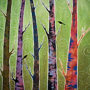 Crows Paintings - Trees On Green by Karla Gerard