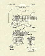 Patent Artwork Drawings Metal Prints - Tremolo Device 1956 Patent Art Metal Print by Prior Art Design