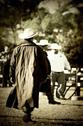 Fence Post Prints - Trenchcoat Cowboy Print by Trish Mistric