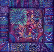Green Tapestries - Textiles Metal Prints - Tres Amigos Kokopellis Metal Print by Anne-Elizabeth Whiteway