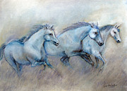 Animals Pastels Originals - Tres Amigos by Loretta Luglio