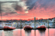 Pink Sky Framed Prints - Tres Gunboats Framed Print by JC Findley