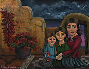 Geraniums Framed Prints - Tres Mujeres Three Women Framed Print by Victoria De Almeida