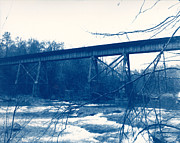 Blue Pyrography - Trestle at Enoree by Wesley Phillips