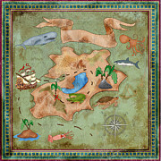 Old Map Digital Art - Tresuare island map by Nune Hovhannisyan