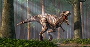 Paleontologist Posters - TRex in the Forest Poster by Daniel Eskridge