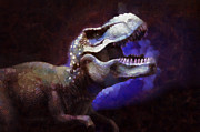 Prehistoric Digital Art Metal Prints - Trex roar Metal Print by Pixel Chimp