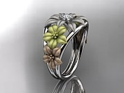 Leaf Engagement Ring Jewelry - Tri Color Gold Diamond Floral Wedding Ring Engagement Ring Wedding Band by Anjays Designs