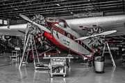 Ford Tri-motor Framed Prints - Tri-Motor in Red Framed Print by Chris Smith