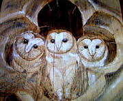 Owl Pyrography Metal Prints - Tri-Umfant Metal Print by Cindy Jo Burleson