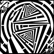 Op Art Digital Art Posters - Triangular Cat Maze Poster by Yonatan Frimer Maze Artist