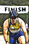 Finish Line Metal Prints - Triathalon Competitor Metal Print by Bob Christopher