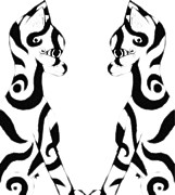 Josephine Ring Art - Tribal Black Cats On White by Josephine Ring