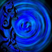 Josephine Ring - Tribal Cat On Blue Swirl