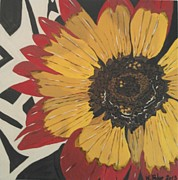 Tribal Art Glass Art - Tribal Daisy by Wendy Blye