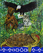 American Eagle Paintings - Tribal gathering by Derrick Higgins