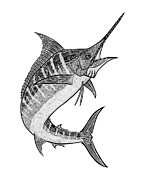 Marlin Drawings - Tribal Marlin III by Carol Lynne