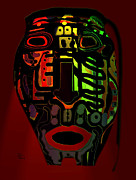 Open Mouth Mixed Media Prints - Tribal Mask Print by Natalie Holland