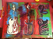 Guitar Painting Originals - Tribal Sounds by Arabella Woods