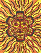 Sunface Prints - Tribal Sunface Mask Print by Susie Weber