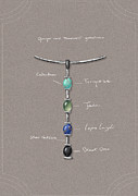 Glass Necklace Jewelry Posters - Tribal sylver Necklace details Poster by Marie Esther NC