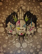 Illustrative Drawings Prints - Tribal travelers Print by Adam Young