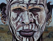 Media Painting Originals - Tribal Warrior by Shirl Theis