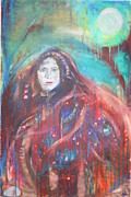 Shawl Painting Originals - Tribal Woman - Green by Lucy H Pearce