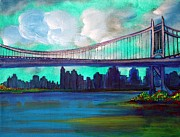 New York City Skyline Painting Framed Prints - Triborough Bridge Framed Print by Laura Barbosa