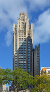 Office Buildings Prints - Tribune Tower Chicago - History is part of the building Print by Christine Till