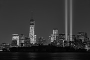 New York City Skyline Framed Prints - Tribute In Light 2013 BW Framed Print by Susan Candelario