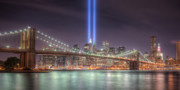 Brooklyn Bridge Prints - Tribute in Light III Print by Clarence Holmes