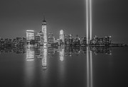 September 11th Attacks Prints - Tribute in Light Reflections BW Print by Michael Ver Sprill