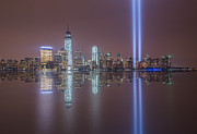 September 11th Attacks Prints - Tribute in Light Reflections Print by Michael Ver Sprill
