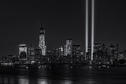 American Flag Manhattan Framed Prints - Tribute in Light XVIII Framed Print by Clarence Holmes
