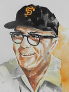 Baseball Card Painting Posters - Tribute To Edward Logan My Grandfather  Poster by Chrisann Ellis