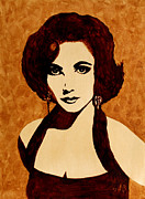 Pop Icon Paintings - Tribute to Elizabeth Taylor coffee painting by Georgeta  Blanaru