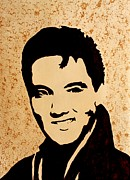 Coffee Art Prints - Tribute to Elvis Presley Print by Georgeta  Blanaru