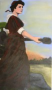 Revolutionary War Painting Originals - Tribute to Molly Pitcher by Kristen R Kennedy