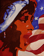 Star Spangled Banner Painting Metal Prints - Tribute to Whitney Houston Metal Print by Xueling Zou
