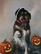 Halloween Paintings - Trick or Treat Dog by Tom Shropshire
