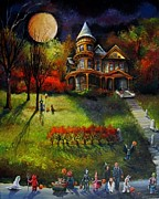 Haunted House Paintings - Trick or Treat Down Ninth Street by Lizzy Rainey