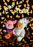Pals Framed Prints - Trick or Treat with Pooh Framed Print by Linda Phelps