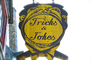 Tricks Prints - Tricks and Jokes Sign Print by Shelley Overton