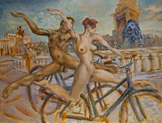Cyclists Paintings - Tricky balance at Trafalgar Square by Peregrine Roskilly